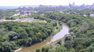 An aerial view of the Milwaukee River Greenway